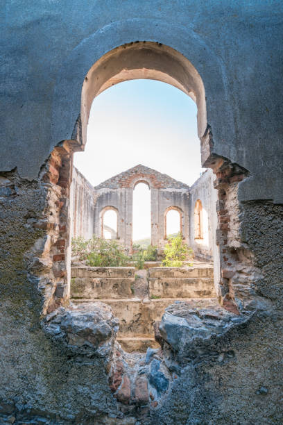 Looking through a window of a church in the Ghost Town of real de catorce, Mexico One of the magical cities in Mexico, this is a ghost town of real de catorce real de catorce stock pictures, royalty-free photos & images