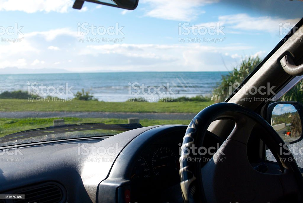 Looking through Car Windscreen to a distant horizon stock photo