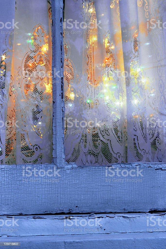 Looking Through Christmas Window stock photo
