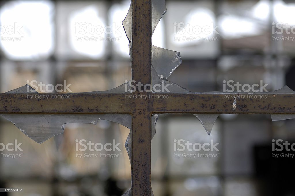 looking through two damaged windows royalty-free stock photo
