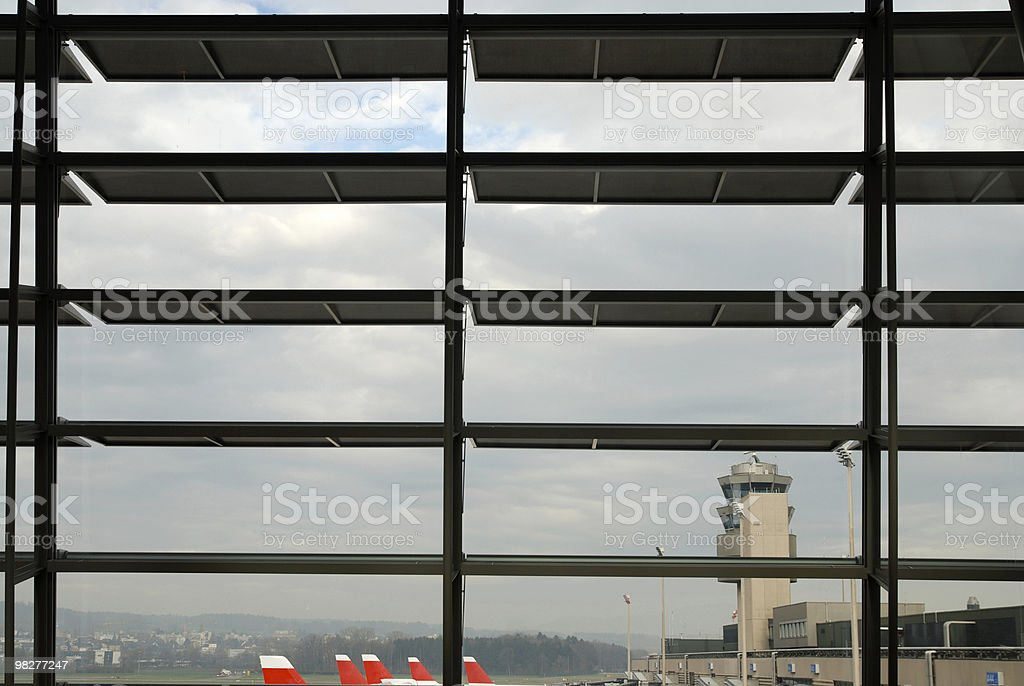 looking through window at Airport Zurich royalty-free stock photo