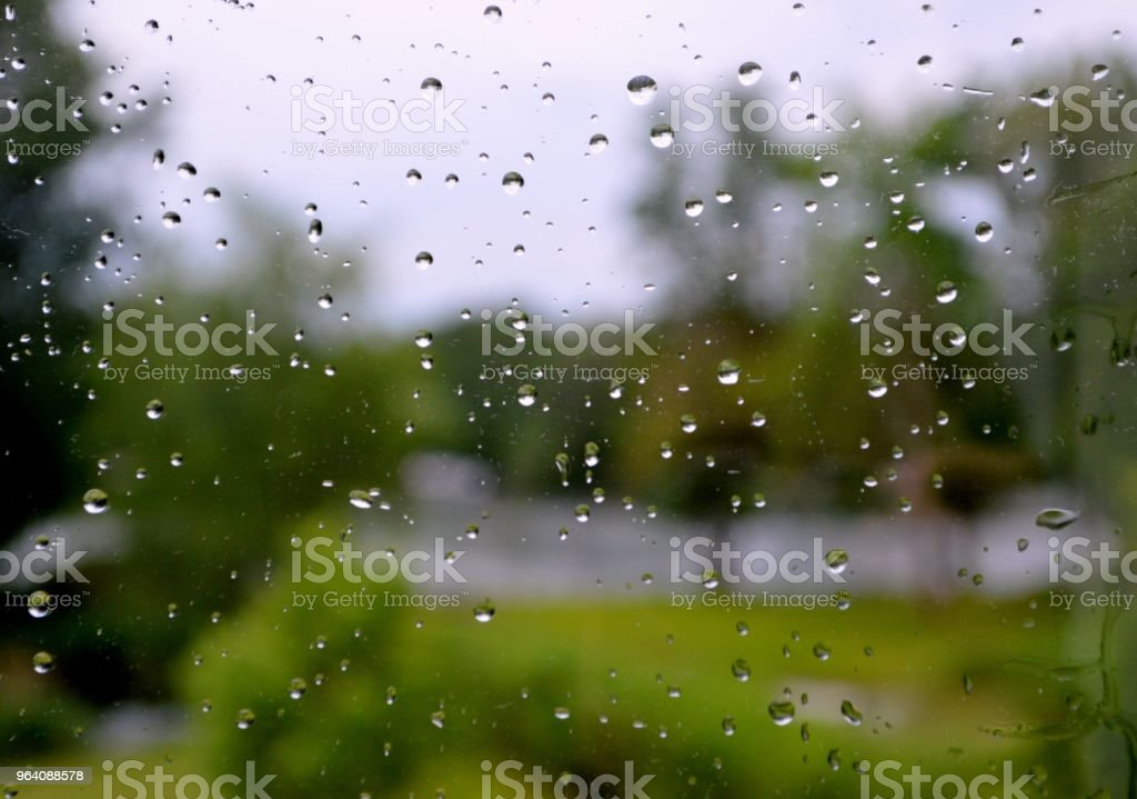 Looking through window at scenic view on a rainy day - Royalty-free Close To Stock Photo