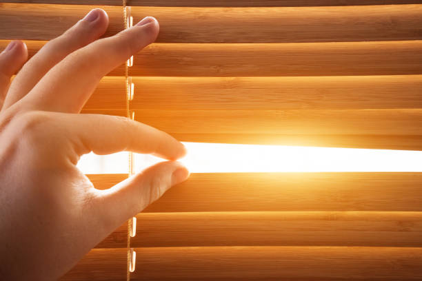 Looking through window blinds, sun light coming inside. stock photo