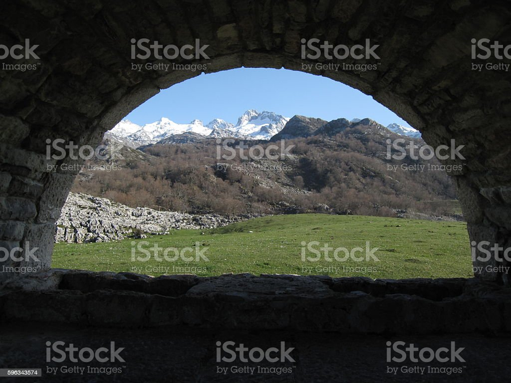 Looking Through Window in the Picos de Europa, North Spain royalty-free stock photo