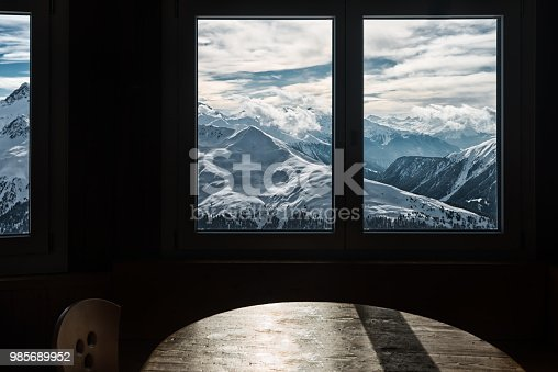 Window with a view over Swiss alps in Davos, Jakobshorn Switzerland