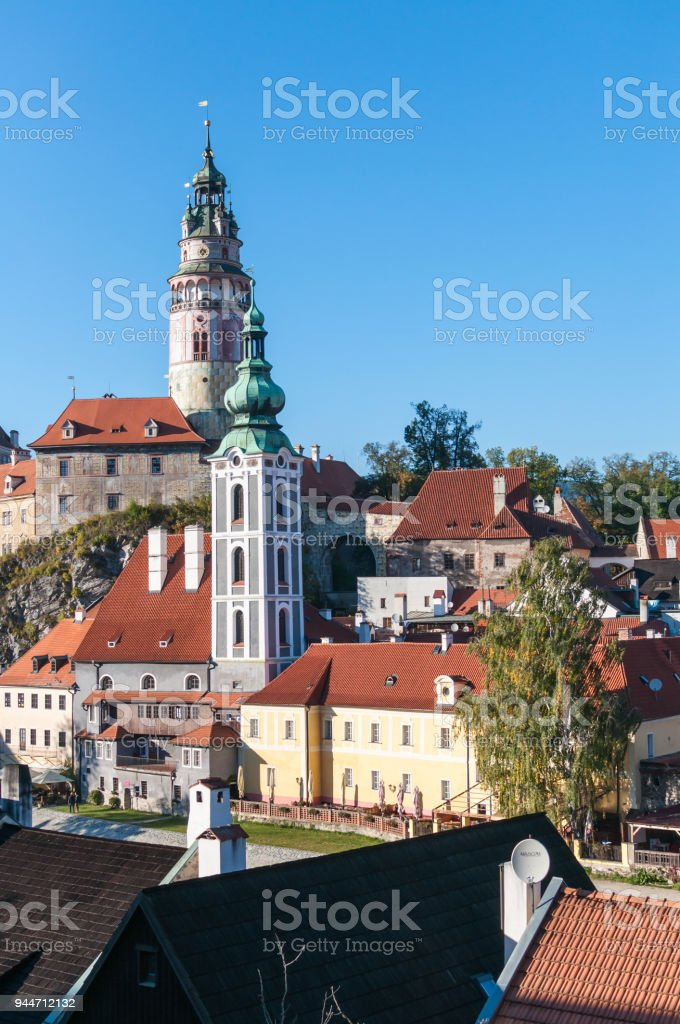 Looking to tower in Cesky Krumlov stock photo