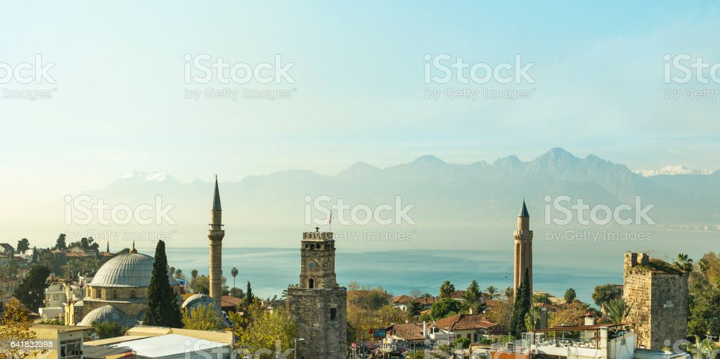 Looking toward to the mediterrenean sea from above Kaleiçi, Oldcity. stock photo