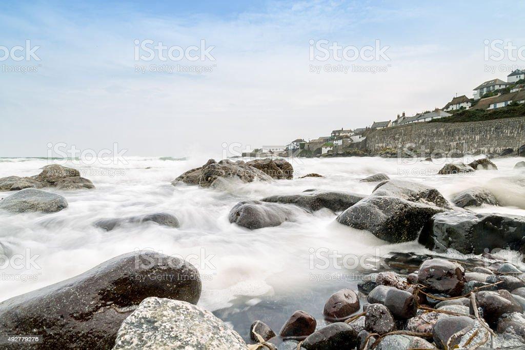 Looking towards Coverack across the sea stock photo
