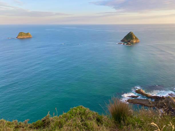 Looking towards Moturoa Island and Tokomapuna Island from New Plymouth stock photo