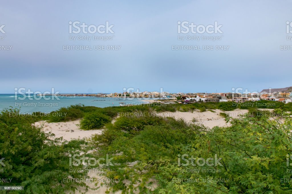 Looking towards Sal Rei, fishing port and capital of Boa Vista - foto stock