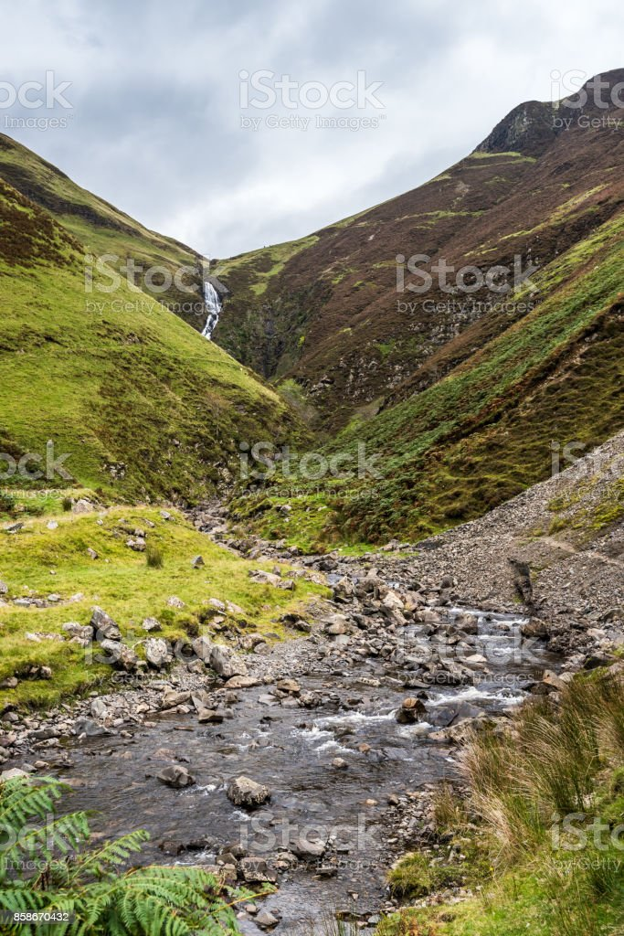 Looking  towards the Grey Mares Tail stock photo