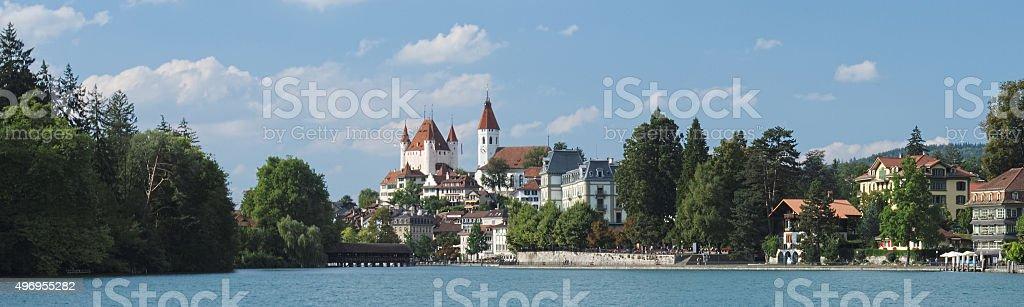 Looking towards Thun while walking along the Aare (Thun, Switzerland) stock photo