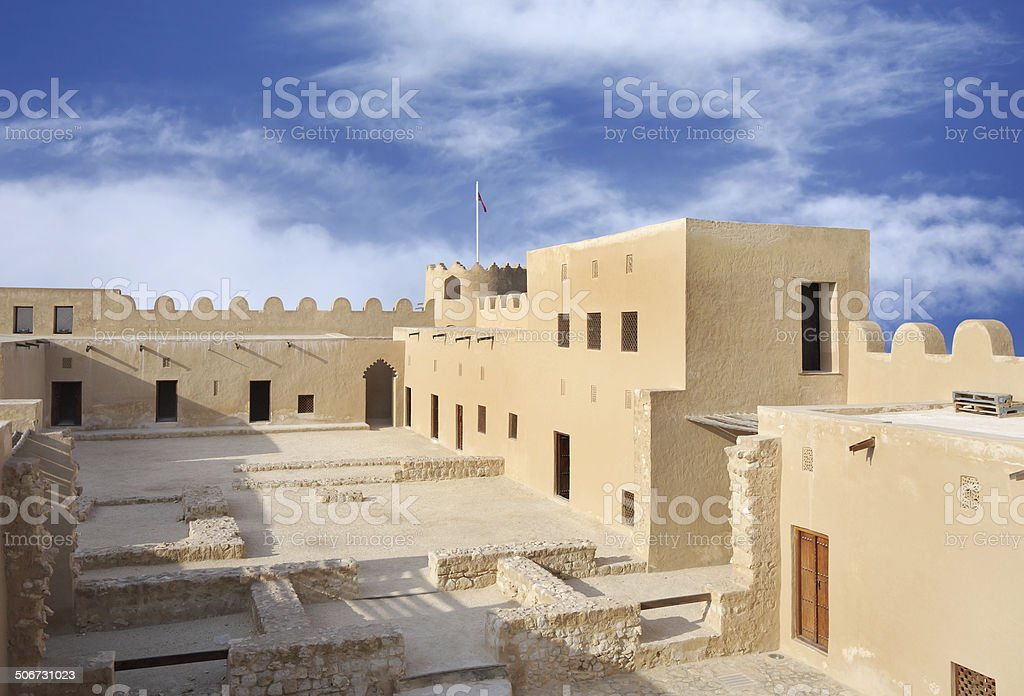 Looking towards western area of the Riffa Fort, Bahrain stock photo