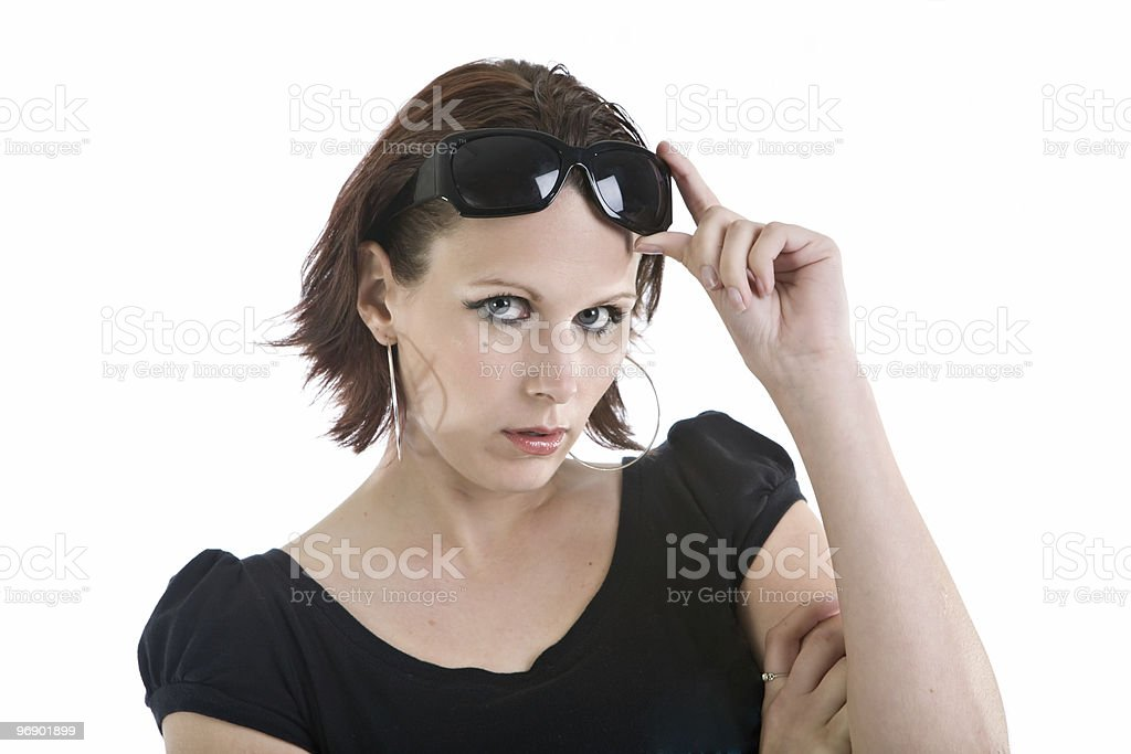 Looking Under Sunglasses royalty-free stock photo