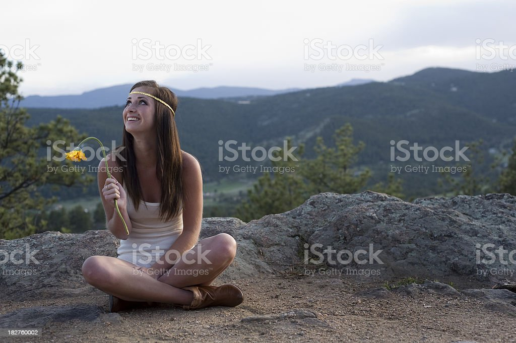 Looking Up and Laughing stock photo