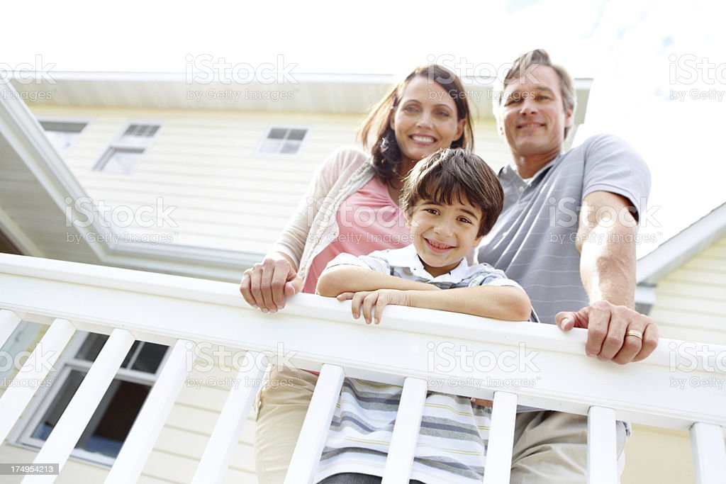 Looking up at a happy family royalty-free stock photo