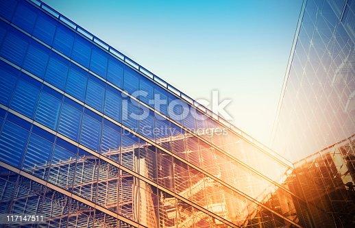Modern building in evening sunlight