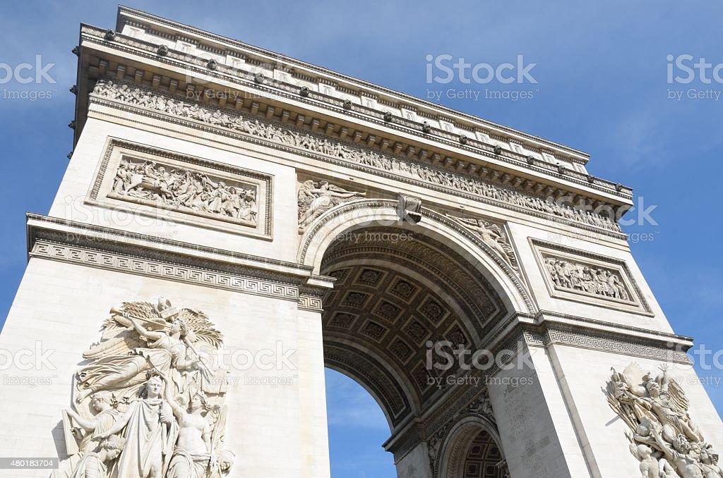 Looking up at arc de triomphe Paris stock photo