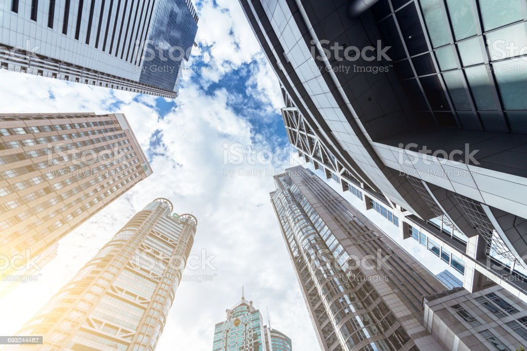 Looking up at business buildings in Lujiazui,Shanghai,China stock photo