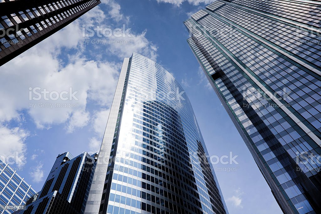 Looking up at chicago skyscrapers in financial district royalty-free stock photo
