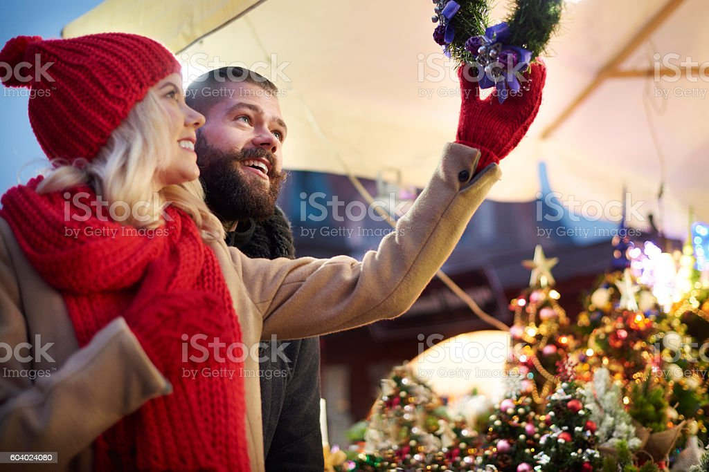 Looking up at christmas wreaths stock photo