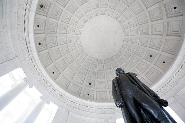 looking up at coppola and statue at the jefferson memorial - monument stock pictures, royalty-free photos & images
