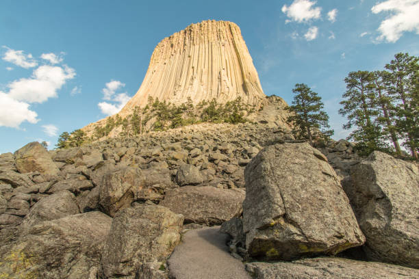 Looking up at Devils Tower stock photo