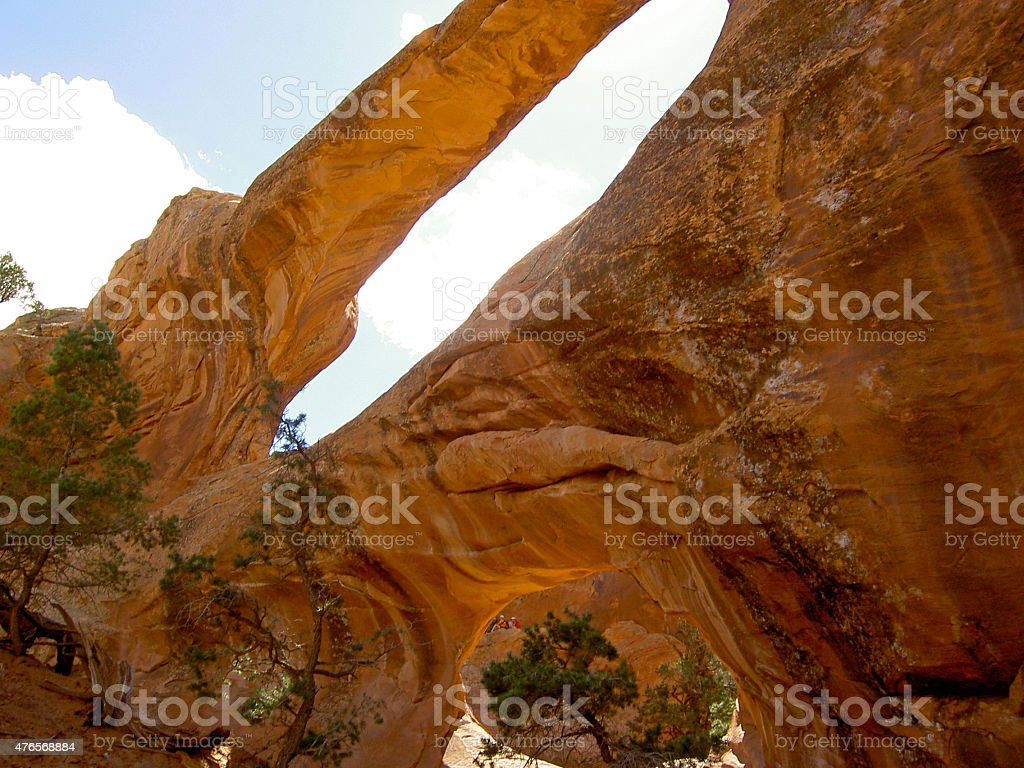 Looking Up at Double O Arch stock photo