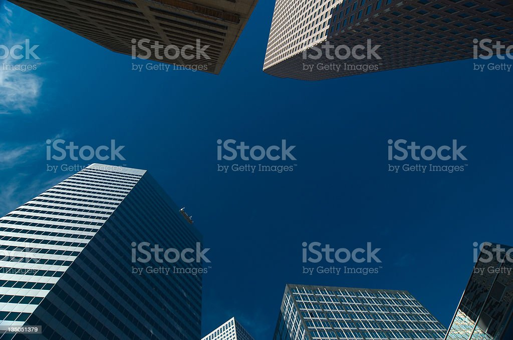 Looking up at downtown Denver skyscrapers stock photo