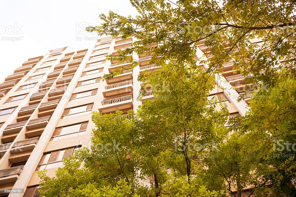 Looking Up at High Rise Residential Building royalty-free stock photo