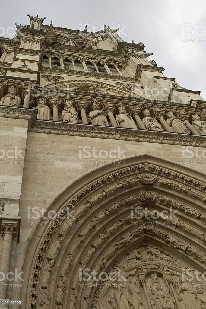 Looking up at Notre Dame royalty-free stock photo