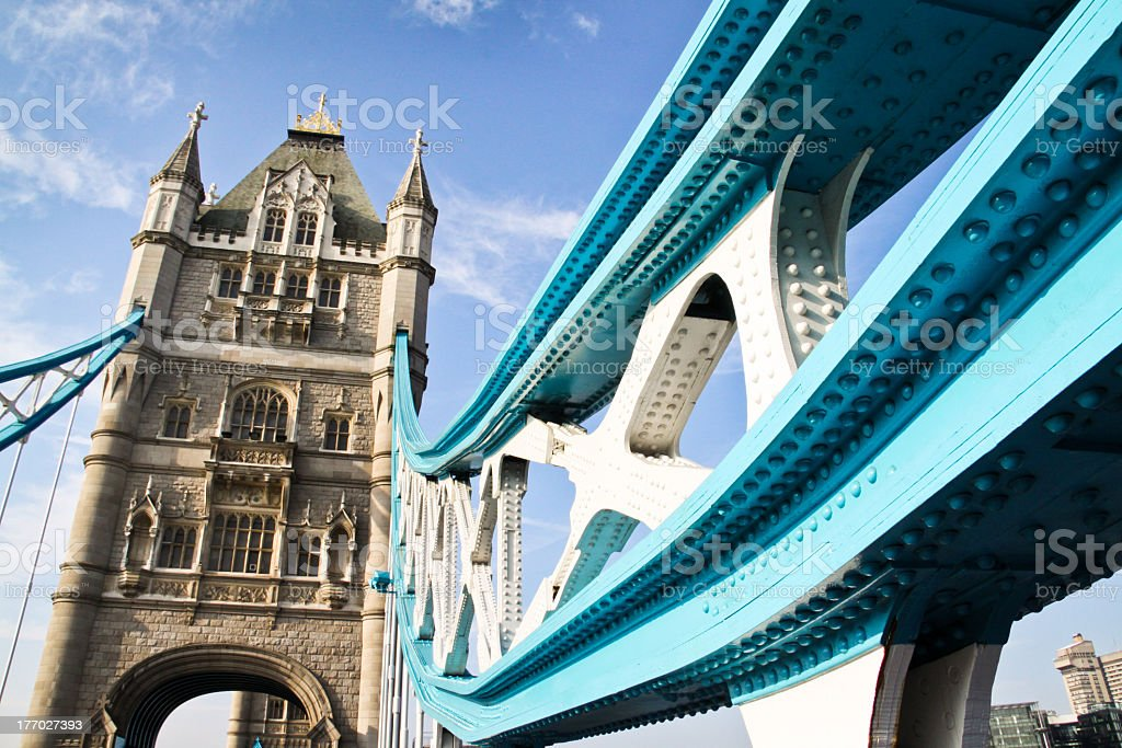 Looking up at one tower of London's Tower Bridge stock photo