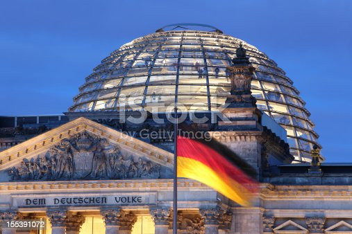 istock Looking up at Reichstag Dome illuminated 155391072