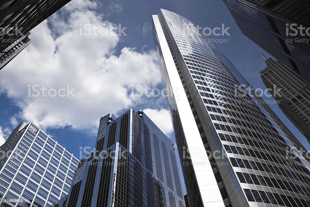 Looking up at skyscrapers in Chicago financial district royalty-free stock photo
