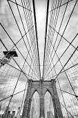 Looking up at the Brooklyn Bridge, New York City, USA.