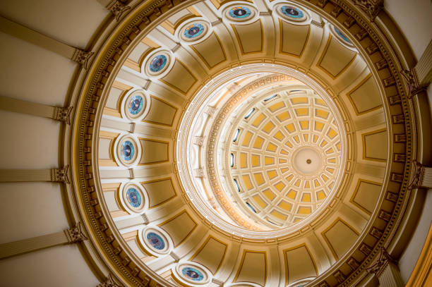 looking up at the dome of the colorado state capitol - colorado state capitol stock photos and pictures
