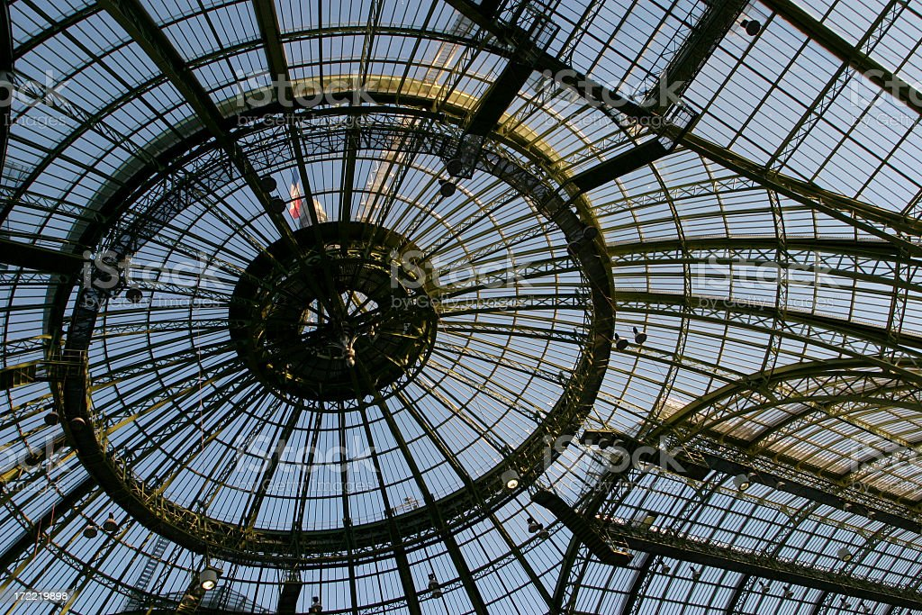 Looking up at the elaborate design of the roof stock photo