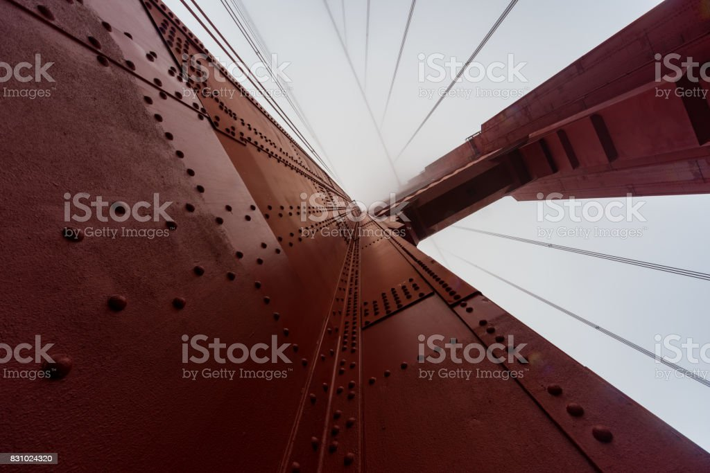 Looking up at the Golden Gate Bridge stock photo