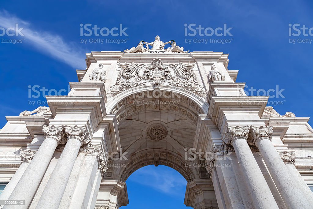 Looking up at the iconic Augusta Street Triumphal Arch. stock photo
