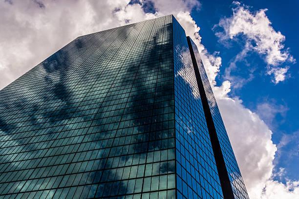 Looking up at the John Hancock Building in Boston, Massachusetts stock photo