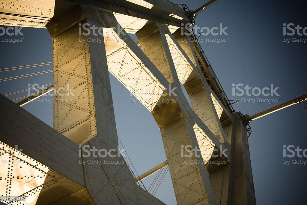 Looking up at the San Francisco Bay Bridge stock photo
