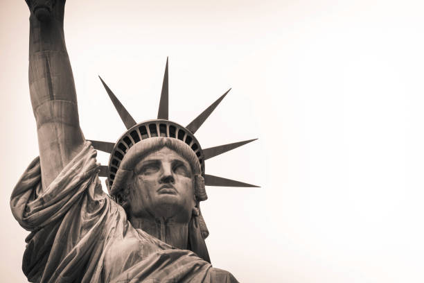 Looking up at the Statute of Liberty stock photo