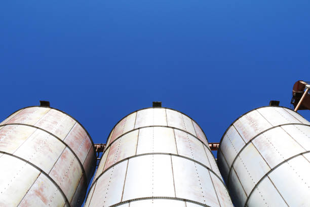 looking up at three agricultural feed grain and corn silo buildings against a blue sky in rural heartland america perfect for industry farming and commercial agriculture marketing stock photo