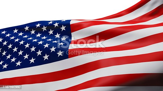 istock Looking up at USA or American flag isolated on white background with clipping path 3D render 1167592992