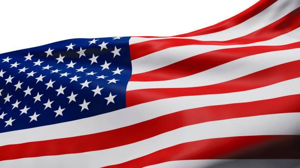 Blick auf USA oder amerikanische Flagge isoliert auf weißem Hintergrund mit Clipping-Pfad 3D-Render – Foto