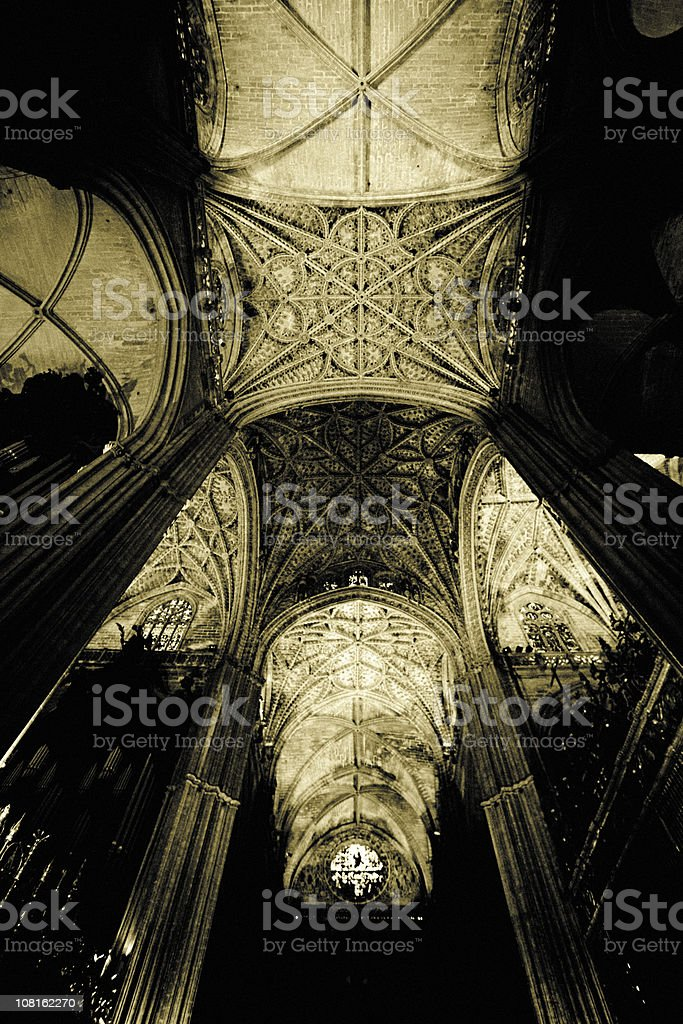 Looking Up at Vaulted Gothic Cathedral Ceiling, Low Key Toned stock photo