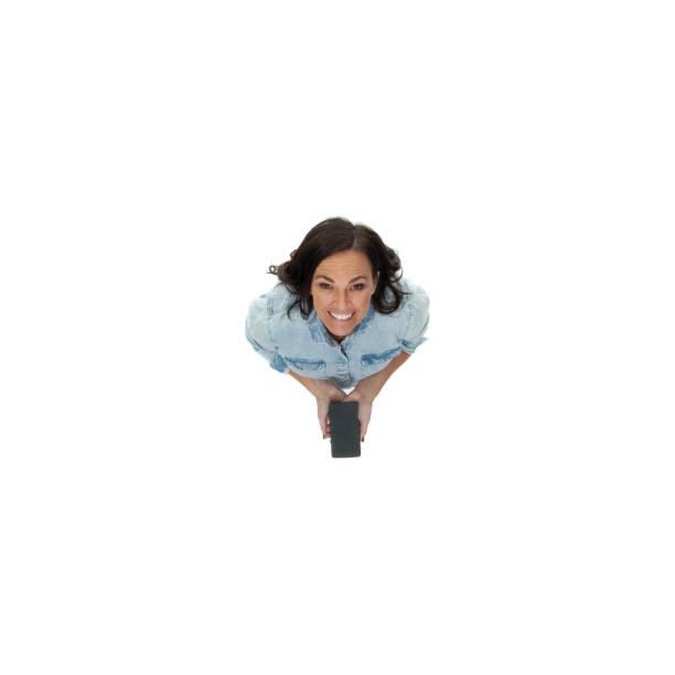 Blick nach oben / direkt über Ansicht / Luftbild / eine Person / volle Länge von Erwachsenen schöne braune Haare / lange Haare kaukasische Frau / junge Frauen / mittlere erwachsene Frauen / mittlere Erwachsene, die lächelt / glücklich / fröhlich / la – Foto