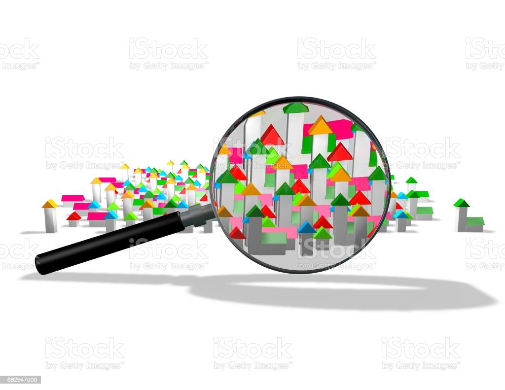 Looking up for a house illustration with houses. royalty-free stock photo