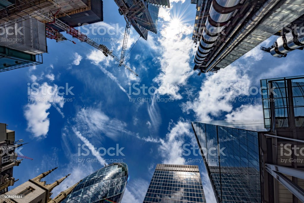Looking up in the financial heart of the city stock photo