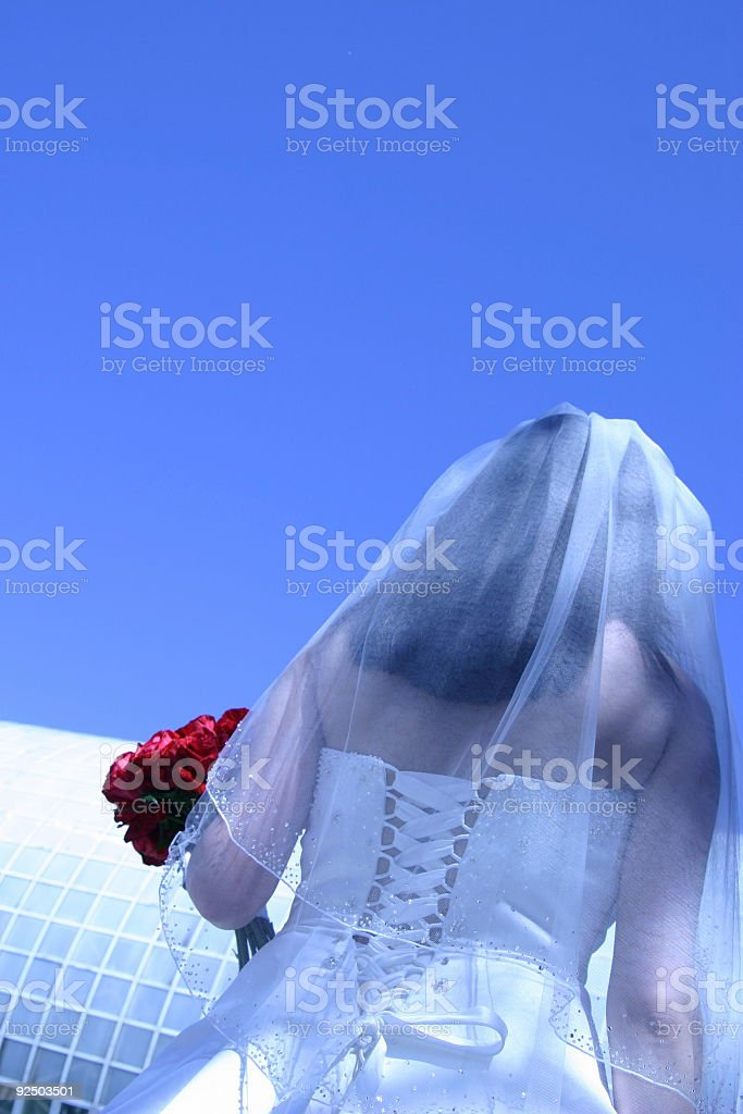 BRIDE . looking up royalty-free stock photo